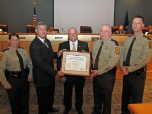 Pictured (left-to-right): Investigator Karen R. Godfrey, Sheriff Charles E. Jett (VLEPSC Commissioner), Mr. Sean Davis (Hanover BOS Chairman), Colonel David R. Hines (Sheriff of Hanover County), and Lieutenant Chris R. Whitley.   Photo courtesy of Mr. Tom Harris, Hanover County PIO