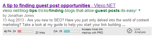 A tip to finding guest post opportunities Google Search Google gives preference to Google+ (Duh!)