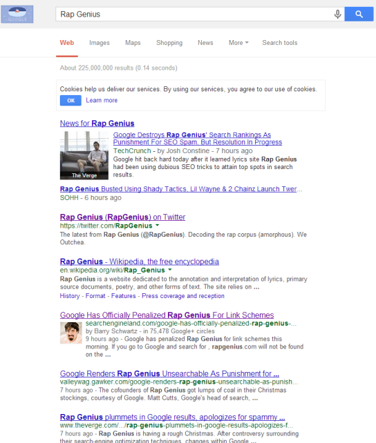 Rap Genius Google Search Google Penalises Rap Genius   Offsite SEO Gone Wrong
