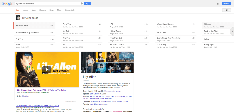 lily allen hard out here Google Search1 Semantic Search for Song Related Queries