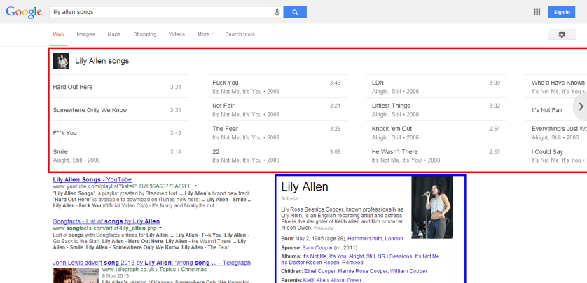 lily allen songs Google Search Semantic Search for Song Related Queries