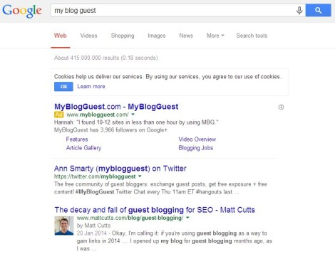 Screenshot 1 Google Takes Action Against MyBlogGuest