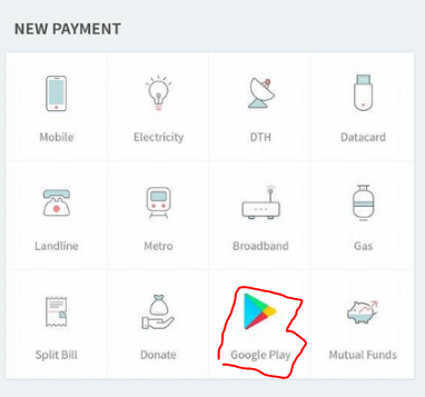 google play gift card option at freecharge