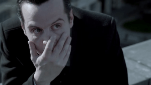 "Understanding James ""Jim"" Moriarty: How he can help us succeed in life (Part 2) http://vlnresearch.com/understanding-james-jim-moriarty-how-he-can-help-us-succeed-in-life-part-2 Jim Moriarty facepalm with Sherlock image"
