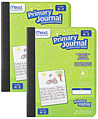 Mead Primary Journal Kindergarten Writing Tablet 2 Pack of GREEN Primary Composition Notebook for Grades K- 2, 100 Sheets (200 Pages) Creative Story Notebooks for Kids, 9 3/4 in by 7 1/2 in.