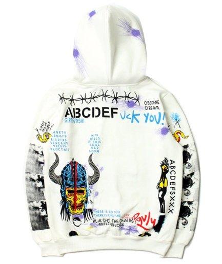 Vlone Graffiti Hip Hop Pullover White Hoodie