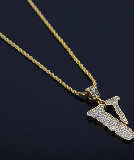 VLONE Iced out 18K Gold Plated Pendant Necklace