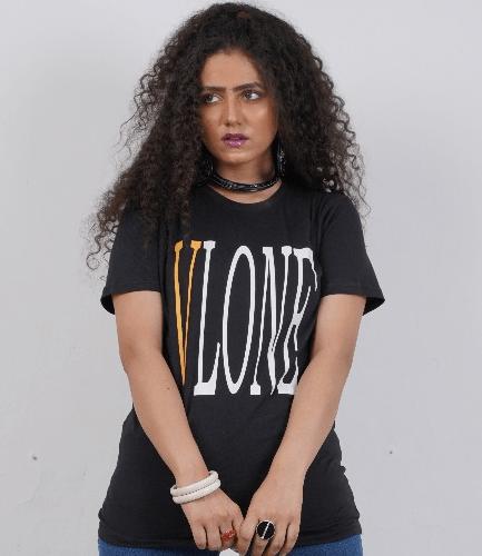 Vlone Tide Big V Letter Printing Short Sleeve Black T-Shirt