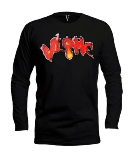 Vlone Halloween Flaming Pumpkin Longsleeve–Black-Front