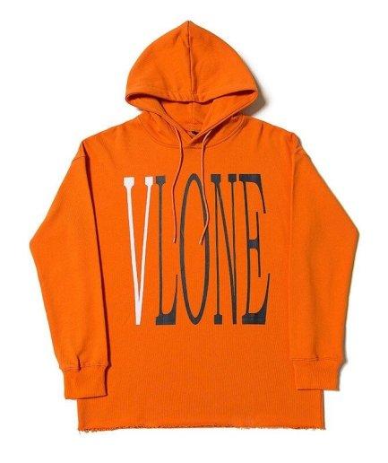 Vlone Staple Hip Hop Orange Hoodies