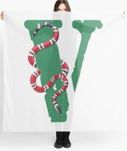 Vlone Snake Logo white Scarf