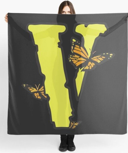 Vlone Yellow Butterflies Edition black Scarf