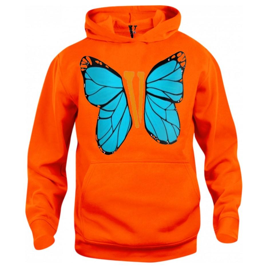 Vlone Blue ButterFly Hoodie Orange