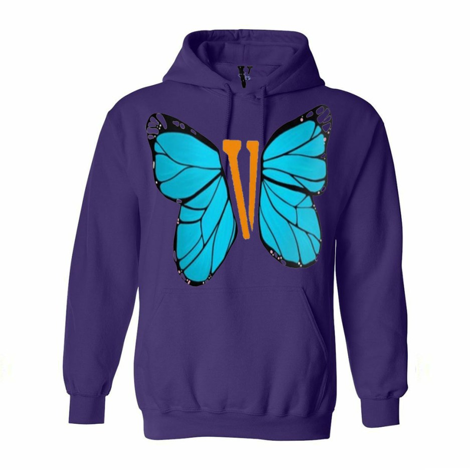 Vlone Blue ButterFly Hoodie Purple
