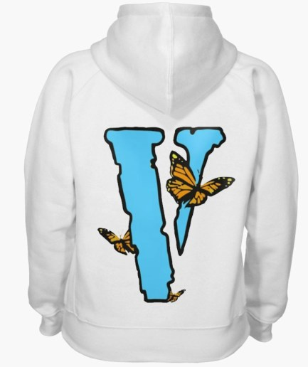 Vlone Blue ButterFly Hoodie White back