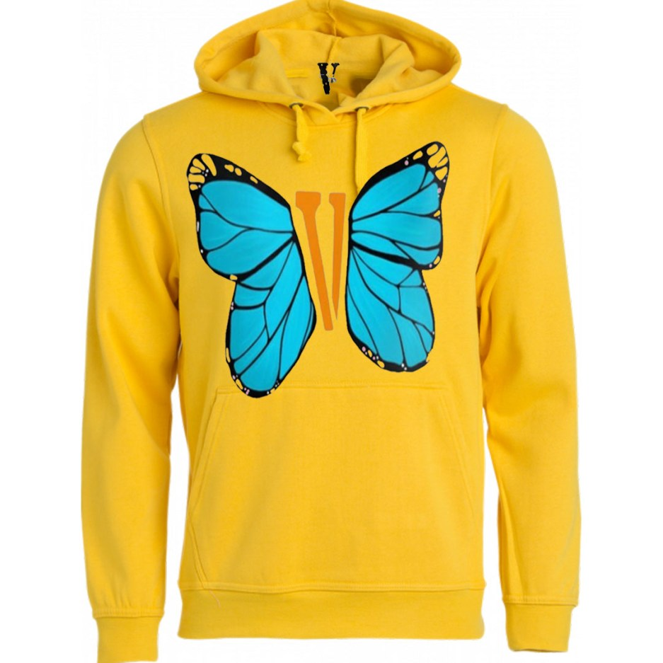 Vlone Blue ButterFly Hoodie Yellow