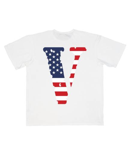 Vlone FRIENDS USA Flag Printed Exclusive White T-Shirt ( Back )