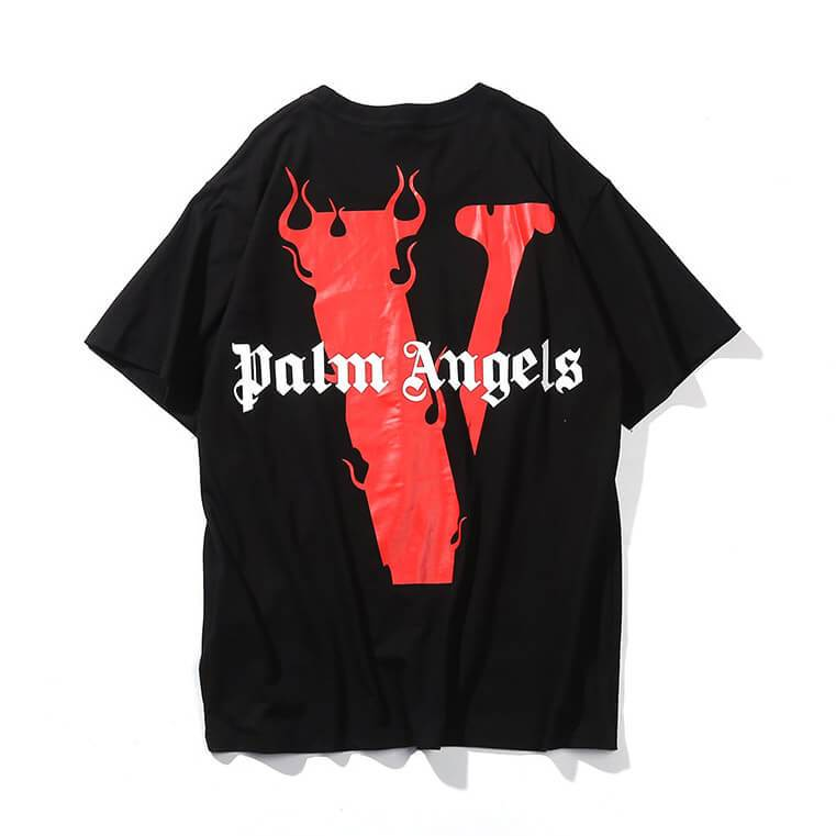 VLONE X PALM ANGELS T-SHIRTS RED/BLACK