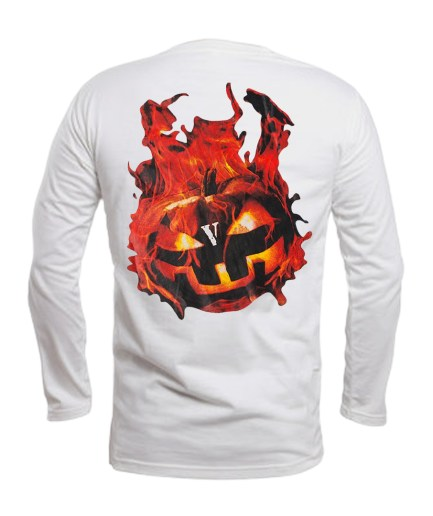 Vlone Halloween Flaming Pumpkin Longsleeve–White-Back