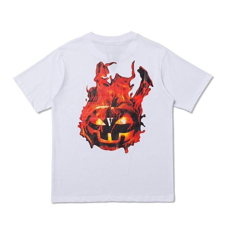 Vlone Halloween Flaming Pumpkin Tee–White-Back