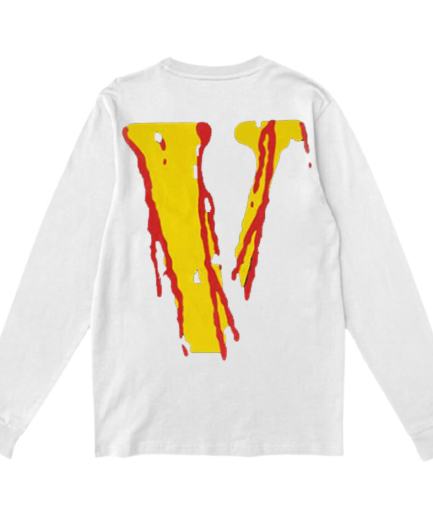 Vlone Blood Smiley Face Printed V White Sweatshirt – Back