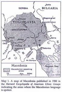 Map of Macedonian Speaking areas published in 1980 in the Harvard Encyclopedia of American Ethnic Groups.