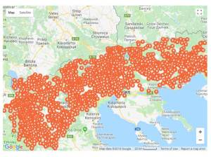 Map of changed Macedonian villages and towns by the Greeks