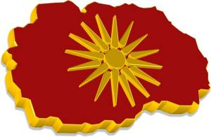 Macedonia 3D Map with Flag
