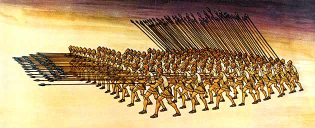 A drawing of the Macedonian phalanx, designed by Philip II, a basic factor in the military achievements of the Macedonians.