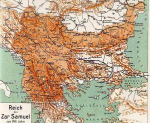 A historical map of Samuil's medieval empire during the greatest territorial expansion on the Balkan Peninsula in 996.