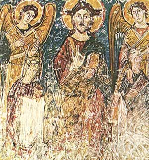 A Fresco portraying Saints Cyrilus and Methodius standing before Christ and two angels, 11th century, the crypt of Saint Clement's church Rome, Italy.
