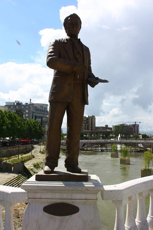 Dimitar Kondovski Statue at the Art Bridge in Skopje