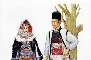 Woman's and man's costumes, Skopska Crna Gora.