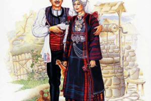 Man's and woman's costumes, Maleshovo, Berovo.