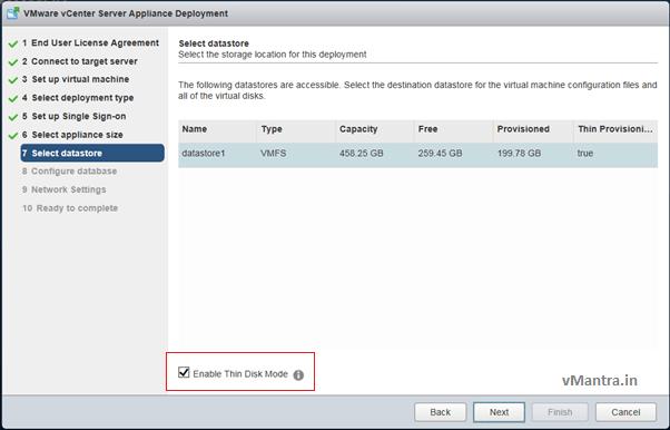 Install VCSA - datastore