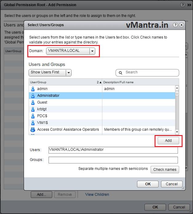 VCSA Add User