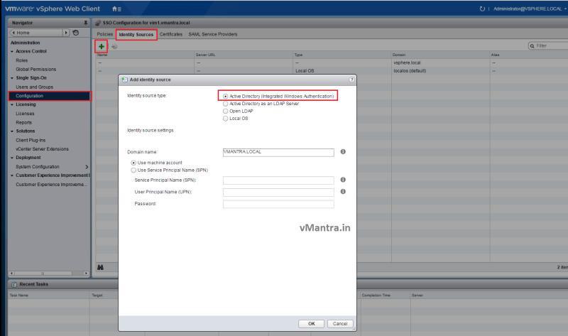 vCSA configuration - AD integration