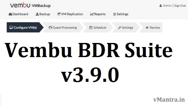 Vembu BDR Suite v3.9.0