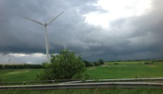 At the M1/M18 junction. Great sky, great turbines, nearly missed them..