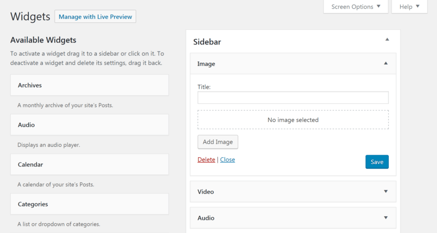 The new WordPress Image Widget.