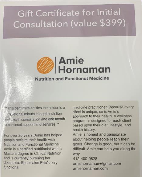 Amie Hornaman Gift Certificate.