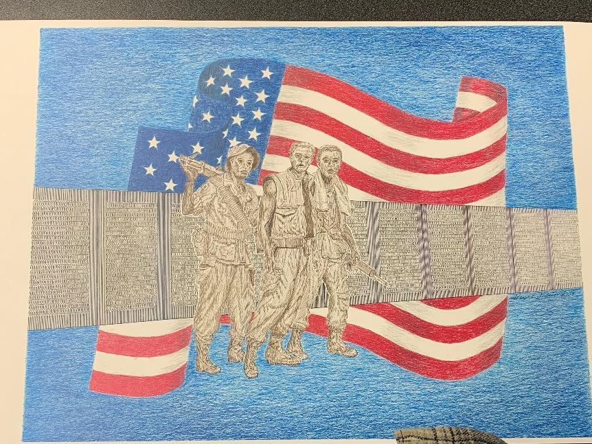 Patriotic Flag with Viet Nam Memorial Wall