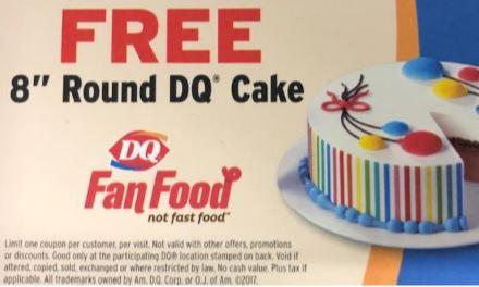 "8"" Frozen DQ Cake Certificate"
