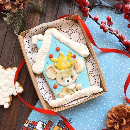 Новогодний имбирно-медовый пряник ручной работы в коробке «Мышка»