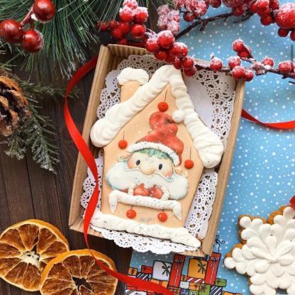Новогодний имбирно-медовый пряник ручной работы в коробке «Санта»