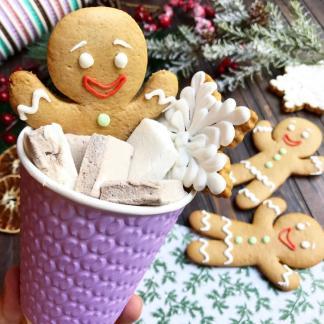 Новогодний пряничный набор с маршмеллоу в стакане