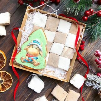 Новогодний набор с пряником и маршмеллоу «Бычек»