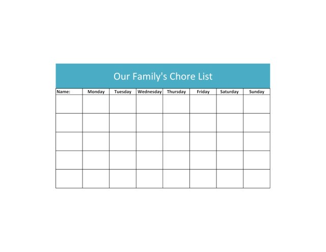 Chore List Template Sheet1