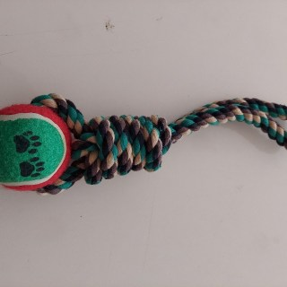 Knotted Rope Dog Toy With Tennis