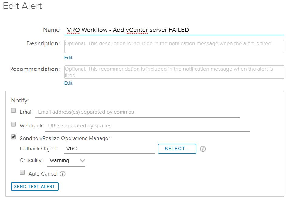 Create an alert for a failed vRO workflow in vRealize Operations